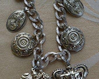 "ON SALE Royal Crown, Crest, Shield, Angel, Heart Charm Necklace, Vintage, Gold tone, 30""-32"" (Z12)"