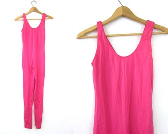 vintage 1980s Shiny PINK Bodysuit Aerobic Exercise Outfit Stretchy Full Body LEOTARD Stirrup Leggings Retro One Piece Jumpsuit Women's Small