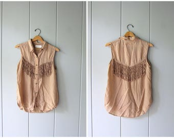 80s Fringed Blouse Rose Nude Silk Rayon Button Up Tank Top Minimal Boho Blouse Gypsy Tassels Top Vintage 90s Modern Silk Top Womens Small