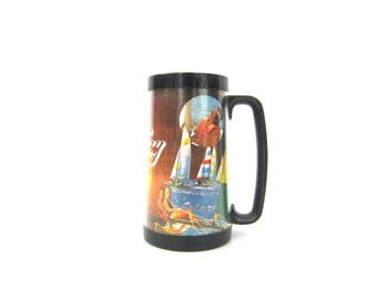 vintage Have a Hobie Day Thermoserv Mug Tall 1970s Retro Insulated Thermo-Serv Mugs Sailing Beach Bum Nautical Boating Cup
