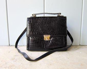 Vintage 90s Black Leather Top Handle Purse Textured Croc Leather Crossbody Bag Boxy Purse Shoulder Handbag Modern Leather School Bag Chic