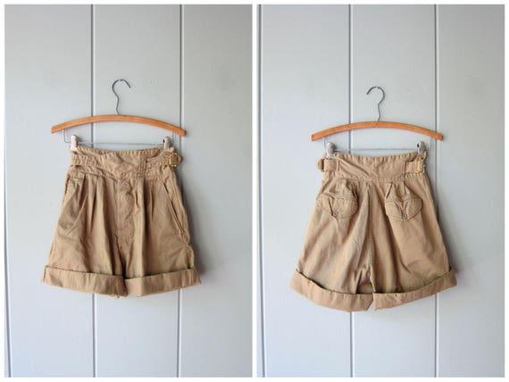 80s Cotton High Rise Shorts High Waist Safari Shorts Beige Tan Khaki Summer Belted Shorts Modern Pocket Shorts Minimal Womens XS Small