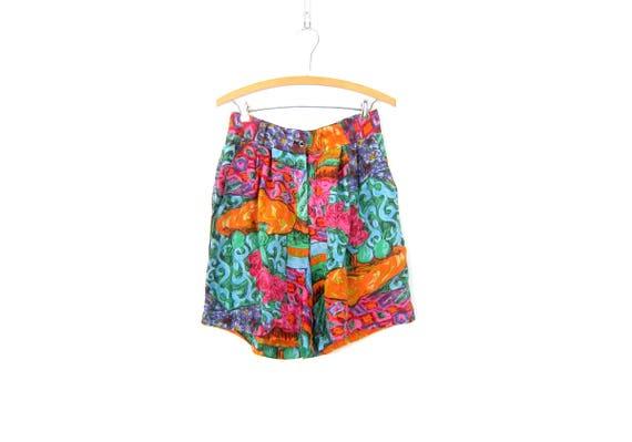 Silk Culottes shorts Wide Leg Dress Shorts Long Abstract Print Pattern Shorts High Waist Elastic Shorts Women's Size Medium Large