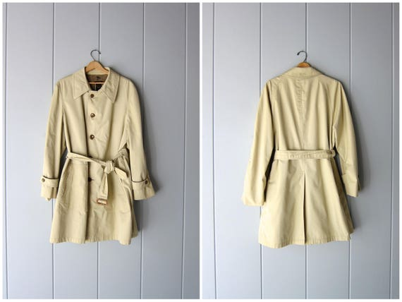 Vintage 80s CHRISTIAN DIOR Trench Coat Tan Button Up Slouchy Rain Jacket Vintage Long Belted Wool Lined Trench Jacket Preppy Mens 44 R