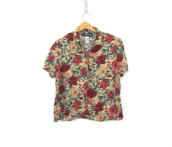 90s Crop Top Floral Print Button Down Blouse Colorful Tee Flower Pattern Button Up Cropped Blouse Vintage Rayon Blouse Womens Size  Medium