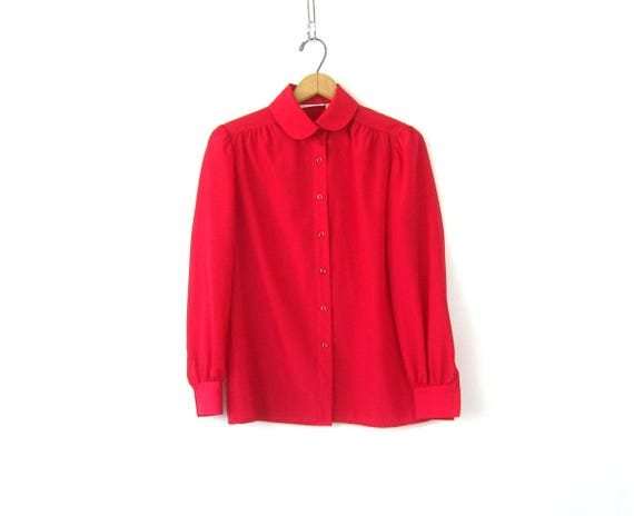 Long Sleeve Red Blouse Button Up Collar Shirt Minimal Slouchy Secretary Top Holiday Dress Up Top Womens Size 8 Medium