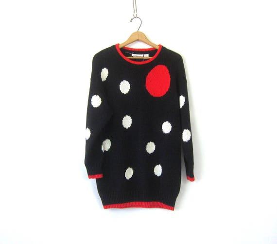 Vintage Long Tunic Sweater Black Red Polka Dot Knit Micro Mini Dress Retro 90s Cotton Ramie Sweater Womens Size Medium