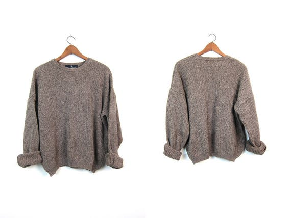 Oversized Beige Green Sweater 90s Basic Slouchy Boyfriend Pullover Textured Cotton Knit Sweater Unisex Grunge Pullover Mens XL Extra Large