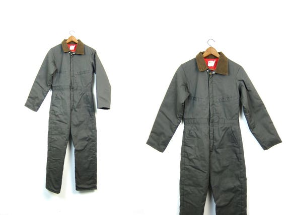 Vintage Coveralls 80s Insulated Jumpsuit Green Cotton Canvas One Piece Car Mechanics Suit Workwear Snow Work Pants Jumper Womens XS Small