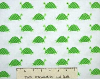 Nursery Baby Fabric - Green Turtles on White - Dear Stella YARD