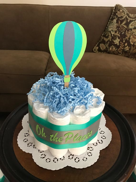 hot air balloon diaper cake oh the places baby shower bundt. Black Bedroom Furniture Sets. Home Design Ideas