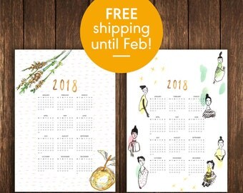 2018 COMBO Wall-Calendar Print Pack - Collaboration with Caroline Gliddon - BOTH DESIGNS - Limited edition A3 size