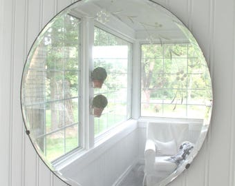 Vintage Mirror * Etched * Beveled * Round * Shabby Chic * Cottage * Old Farmhouse