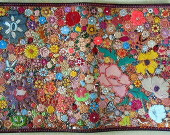 Maroon Border Leather Jr Legal Pad Cover with  Lots of Multicolored Flowers and a Few Critters Made in GA USA