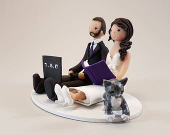 Seated Bride & Groom with a Cat Customized Wedding Cake Topper