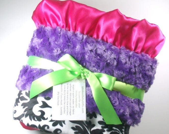 SALE Purple, Hot Pink and Black Damask Minky Blanket - for baby and adultsCan Be Personalized