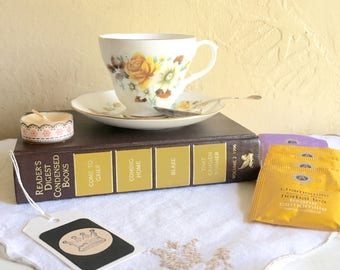 Tea Lover Book Lover Gift Box Matching Tea Cup and Saucer Vintage Book Tea Bags Candle Bookmark Antique Sterling Silver Spoon Cloth Napkin