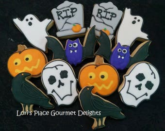 Halloween Cookies - Tombstone - Ghost - Bat - Jack O Lantern - Skull - Crow - 12 - Cookies
