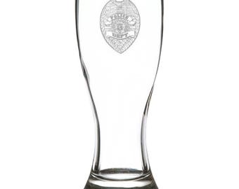 Police Department 18 Ounce Personalized Pilsner Glass