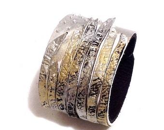 40% OFF SALE Metallic color leather cuff bracelet. Fashion bracelet. Leather jewelry
