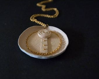 """50% OFF SALE Elegant beige and gold pendant """"Geometric of metamorphose"""" collection Statement jewelry"""