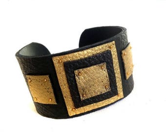 "50% OFF SALE Leather cuff bracelet Women cuff Leather jewelry Black and gold wristband  ""Geometry of Metamorphose"" collection"