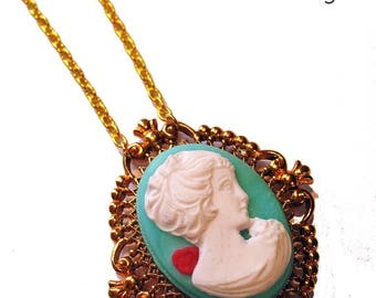 * Necklace * spring cameo Lady with Rose
