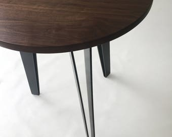 "Solid Round Walnut 42"" Tall Mid Century Modern Cafe/Bistro Table with Powder-Coated Steel Legs"