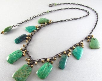 25 OFF Amazonite With Gold Pyrite and Oxidized Sterling Silver Necklace