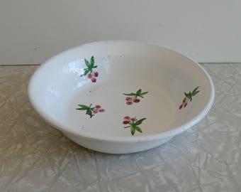 portuguese cherry bowl, traditional portugal pottery, portugal, terra cotta clay, summer farmhouse cottage decor, vintage folk art pottery