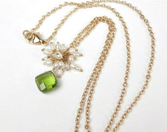 FLASH SALE Peridot Necklace 14kt Solid Gold Peridot, Seed Pearl Cluster Dangle Necklace August Birthstone Peridot Jewelry Green Gemstone Pea