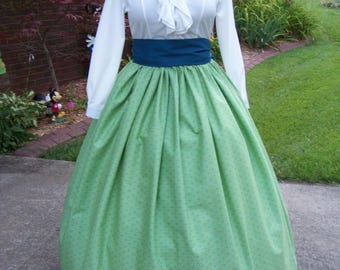 Childs or Adults Colonial,Civil War,Victorian, Long SKIRT or dress one size fit all Green, Teal and yellow handmade