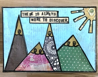 Discover mountains mixed media canvas collage art by Things With Wings