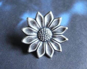 Sunny Flower - Antiqued Silver Plated Flower Brooch, Lapel Pin or Tie Pin, Tie Tack with Gift Box