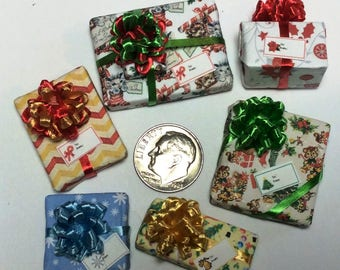 Six Assorted Miniature Christmas Packages set #206