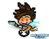 Tracer - Perler Bead Sprite Pixel Art Figure Stand or Lanyard Necklace