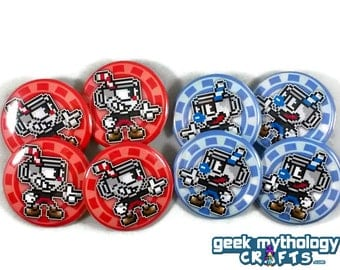 """Cuphead and Mugman Pins Button Badges 1.5"""" Pixel Art"""