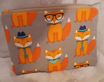 Orange Fox Pencil Pouch, Makeup Bag, Gadget Case, Medicine Bag, Artists Storage Bag, Medicine Pouch, Makeup Pouch