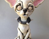 Custom Chihuahua Version of Dog Sitting on Rug Ceramic Wall or Tabletop Sculpture (BALANCE) RESERVED for Debby