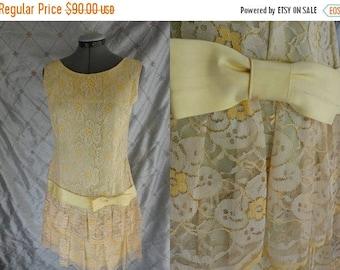ON SALE 60s Dress //  Vintage 1960's Pae Yellow Lace Dress with Drop Waist Faux Flapper Style Size M  metal zipper