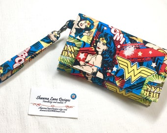 Wonder Woman cell phone wallet, wristlet, DC Comics novelty fabric, Women's Wallet with strap, mobile phone accessory
