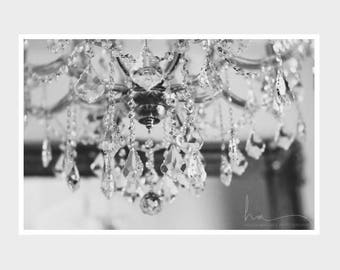 chandelier photograph, crystal chandelier, chandelier wall art, nursery wall art, fine art photograph, black and white, light fixture print