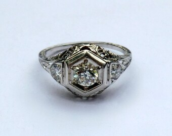 Art Deco 18K Diamond Filigree Engagement Ring Half Carat Center Euro Cut Diamond .72 CTW Hand Pierced