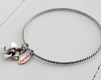 Plumeria Bangle, Sterling silver twisted wire bangle with a Handmade Plumeria charm by Hapa Girls