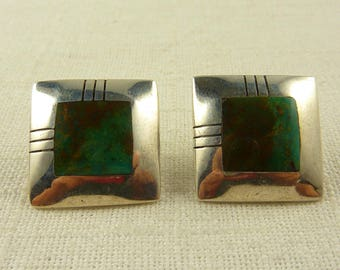 Vintage Sterling and Turquoise Southwestern Square Earrings