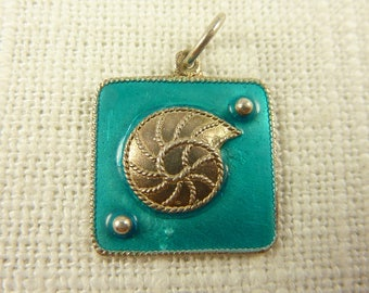 Vintage Sterling and Enamel Seashell Charm