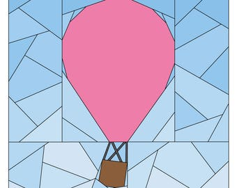 Paper Piecing Pattern - Rise Above Base  - Hot Air Balloon Quilt Pattern - #254 PDF