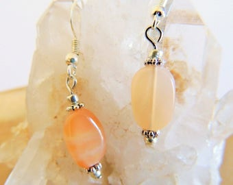 Peach Moonstone Dangle Earrings, Sterling Silver Earrings