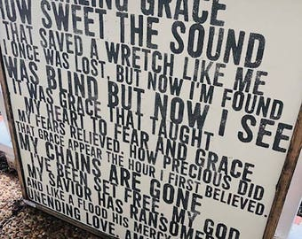 Amazing Grace hymn wooden farmhouse style sign framed