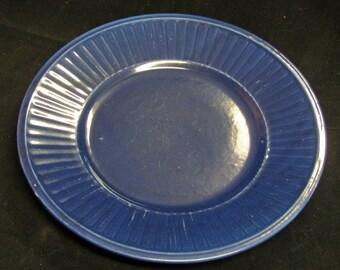 Cobalt Blue Plate Vintage 40's Ribbed Edge Stoneware